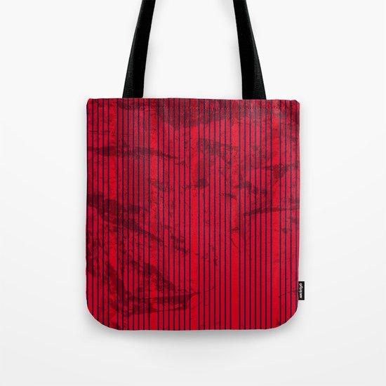 Grunge Blue stripes on bold red background Tote Bag