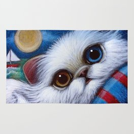 WHITE PERSIAN CAT with ODD EYES AT THE BEACH Rug