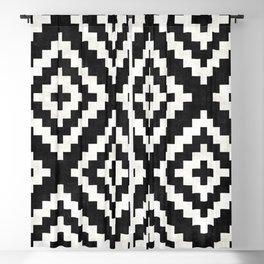 Urban Tribal Pattern No.17 - Aztec - Black and White Concrete Blackout Curtain