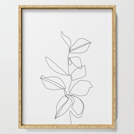 One line minimal plant leaves drawing - Birdie Serving Tray