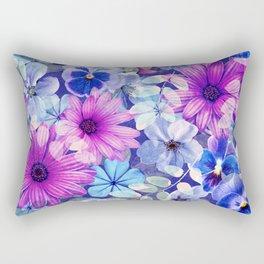Dark pink and blue floral pattern Rectangular Pillow