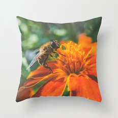 Bee working on flower Throw Pillow