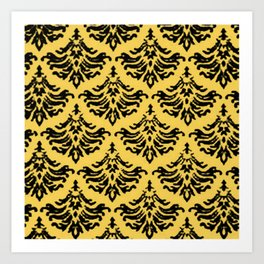 Vintage Damask Brocade Primrose Yellow Art Print