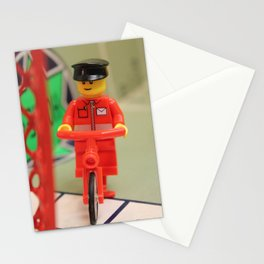 Legoman Traveling on Bicycle Stationery Cards