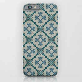 Selene dark teal on gray pattern iPhone Case