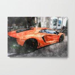 Orange Car Metal Print