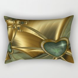 Malachite Heart On Gold Rectangular Pillow