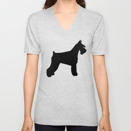 Schnauzer silhouette dog breeds custom dog lover t shirt minimal Unisex V-Neck