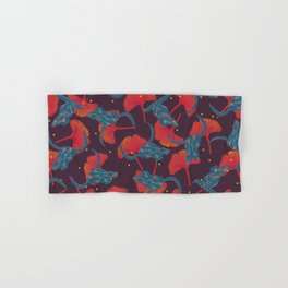 Ginkgo & Skulls (blue and orange version) Hand & Bath Towel