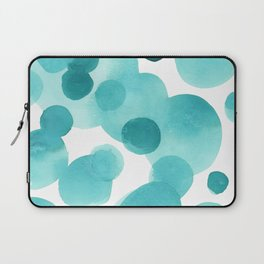 Aqua Bubbles: Abstract turquoise watercolor painting Laptop Sleeve