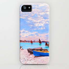 The Beach at Sainte Adresse Painting Claude Monet French Impressionism Art Print Nautical Painting iPhone Case