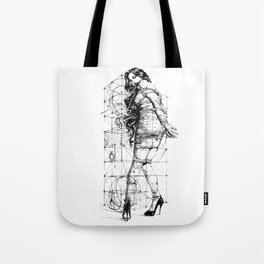 Lady and Geomertry Wall. Tote Bag