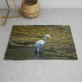 Great Egret Foraging in a Stream Rug