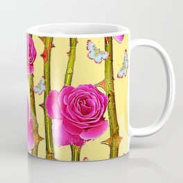 WHITE BUTTERFLIES & CERISE PINK ROSE THORN CANES YELLOW Coffee Mug