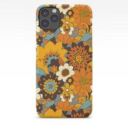 70s Retro Flower Power 60s floral Pattern Orange yellow Blue iPhone Case