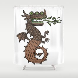 Dragon with three eyes Shower Curtain