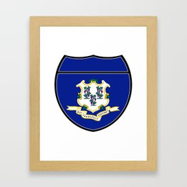 Connecticut Flag In An Interstate Sign Framed Art Print