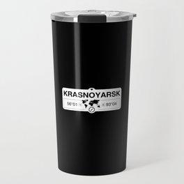 Krasnoyarsk Krai with World Map GPS Coordinates and Compass Travel Mug