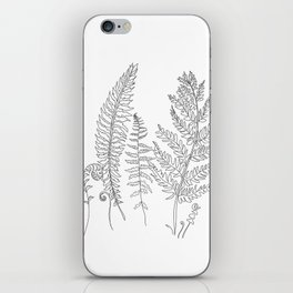 Minimal Line Art Fern Leaves iPhone Skin