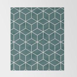 Cube Geometric 03 Teal Throw Blanket