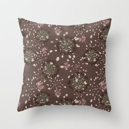Rose, brown, mint green - look around stylish flowers Throw Pillow