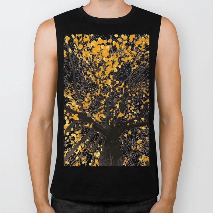 Yellow Leaves Biker Tank