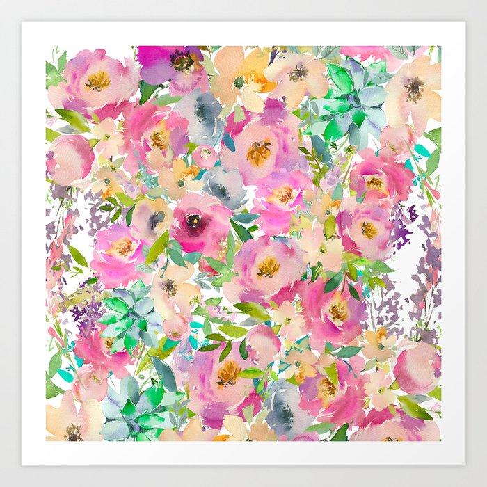 Elegant blush pink lavender green watercolor floral Kunstdrucke