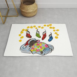 Christmas and New Year mouse with stockings and lights sumie ink watercolor painting Rug