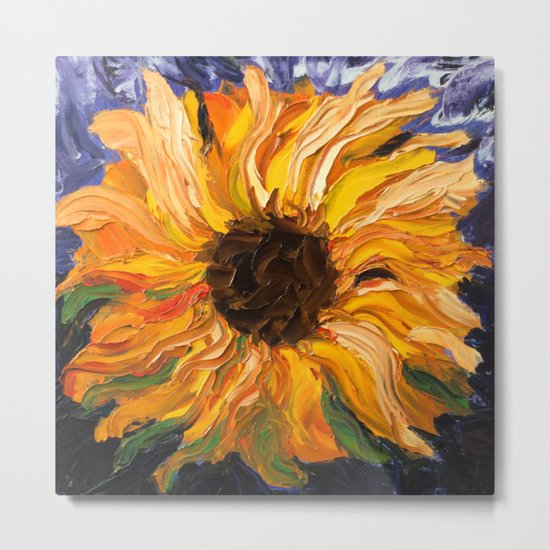 Fiery Sunflower - Original Painting Metal Print