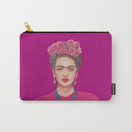 Frida with Flowers in Magenta Carry-All Pouch
