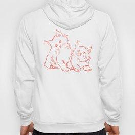 Katzen 001 / Minimal Line Drawing Of Two Cats Hoody