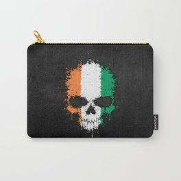 Flag of Ivory Coast on a Chaotic Splatter Skull Carry-All Pouch