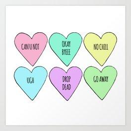 Realistic Valentine's Conversation Hearts Art Print