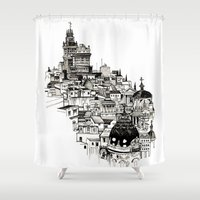 madrid Shower Curtains featuring Madrid by Justine Lecouffe