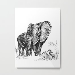 Mama Elephant and her Baby Metal Print