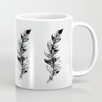 feather Mugs featuring Feather by LouJah
