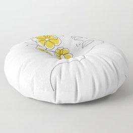 Mustard Bloom Girl Floor Pillow