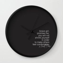 wall clock. brave girl. no 17 (black) Wall Clock