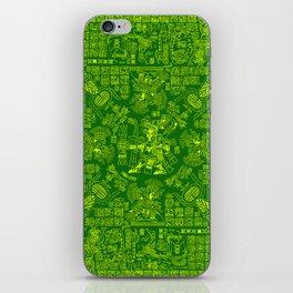 Mayan Spring GREEN / Ancient Mayan hieroglyphics mandala pattern iPhone Skin