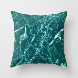 Teal Marble Throw Pillow