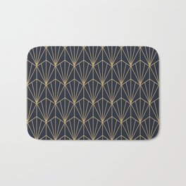 Art Deco Vector in Blue and Gold Bath Mat