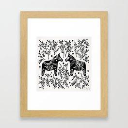 Swedish Dala Horses – Black Palette Framed Art Print