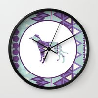 greyhound Wall Clocks featuring Greyhound Geometri by Simon Alenius