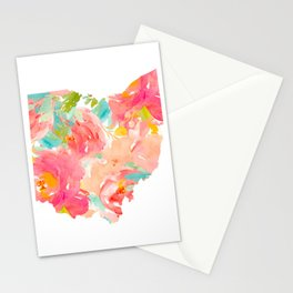 floral ohio state map Stationery Cards