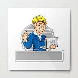 cartoon engineer with notebook Metal Print