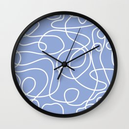 Doodle Line Art | White Lines on Periwinkle Wall Clock