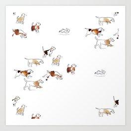 Beagles hunting Art Print