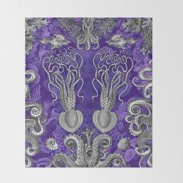The Kraken (Purple - No Text) Throw Blanket