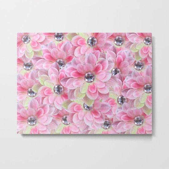 Shocking Pink Flora Gems Metal Print
