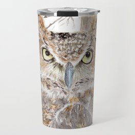 """Watercolor Painting of Picture """"Owl in the Forest"""" Travel Mug"""